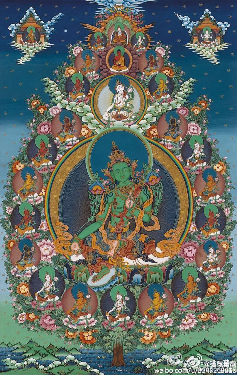 Tibetan buddhist thangka of the 21 taras with green tara in the tibetan buddhist thangka of the 21 taras with green tara in the center buycottarizona
