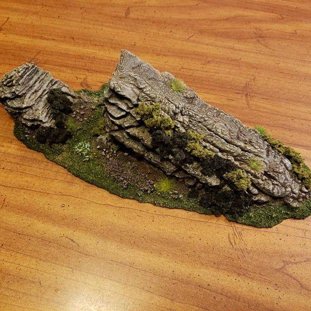 Wargame Terrain - Jutting Rock STUB Outcropping A - Miniature Wargaming & RPG hill terrain