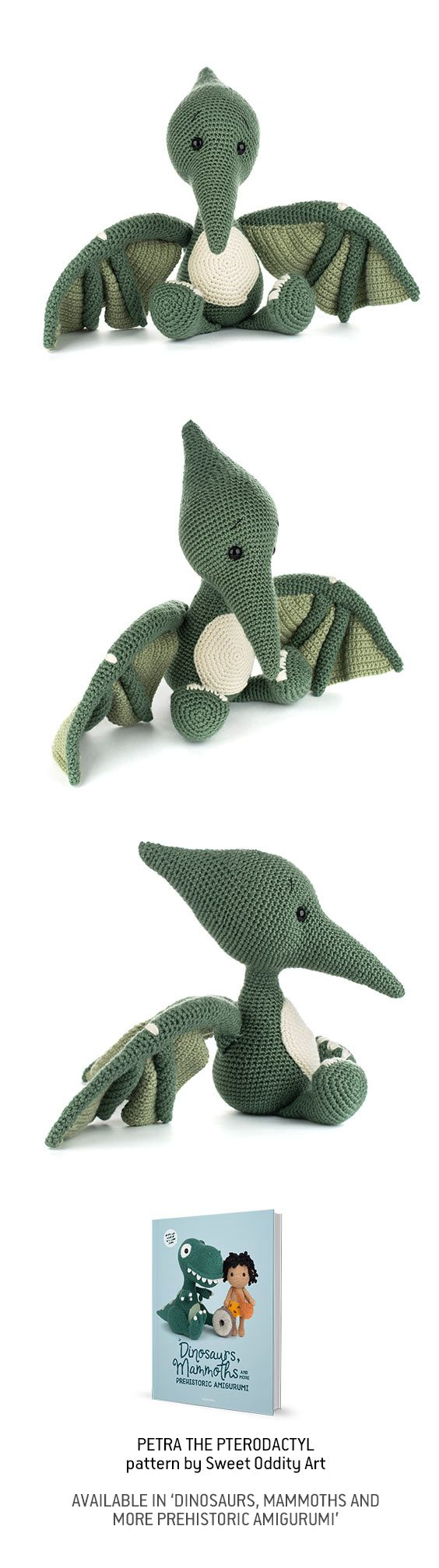 Petra the Pterodactyl - book crochet pattern by Sweet Oddity Art #crochetdinosaurpatterns