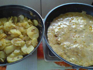 Bratkartoffeln mit Schnitzel in Sahnesoße - Rezept