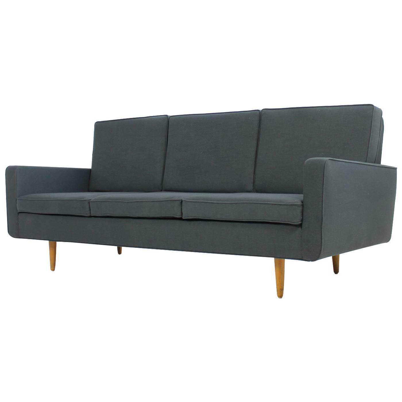 Florence Knoll Style Fabric Sofa Fabric Sofa Teal Sofa Blue