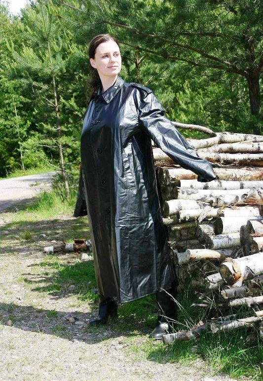 Long black rubber mackintosh