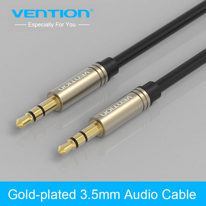 Vention Aux כבל 3 5 מ מ עד 3 5 מ מ ג ק כבל אודיו מצופה זהב זכר לזכר כבל עזר סטריאו לרכב טלפון רמקול Audio Cable Phone Cables Iphone Cable