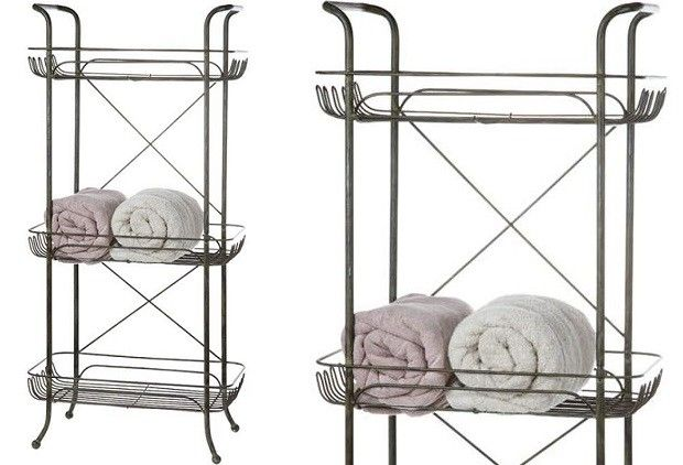 Tiered Basket Stand Metal Bathroom Shelves
