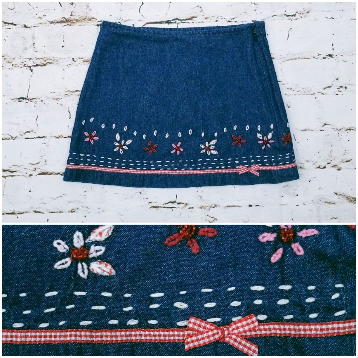 This is from a European designer, made in France. Dark denim Chambray skirt with embroidered flowers and ribbon detail. Side zipper for easy on/off. I see no issues with this. Smoke free pet friendly home. Search Cctreasure to see all my listings and bundle to save money!