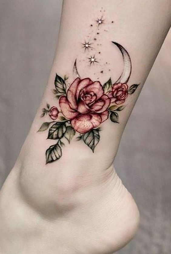 Cute Flower Tattoos On Ankle For Girls And Women 22 The Post Cute Flower Tattoos On Ankle For Gi Rose Flower Tattoos Delicate Flower Tattoo Body Art Tattoos