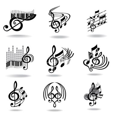 Music Notes Set Of Design Elements Or Icons Vector TATT Pinterest And