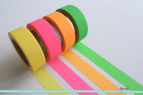 Fluorescent Color Washi Tape Masking Tape Your Choice Of Color Yellow Pink Orange Green 10m 1 Roll Masking Tape Art Washi Washi Tape