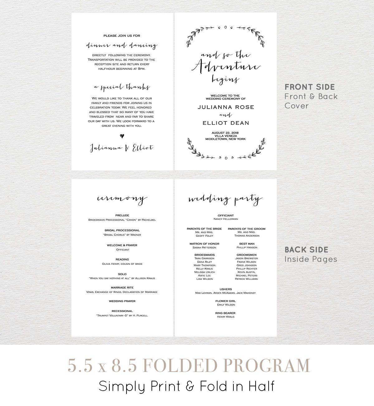 Wedding Program Template Printable Order Of Service Folded So
