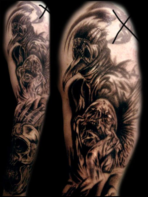 Life And Death Tattoo Sleeves Black Death Sleeve Session 2 A