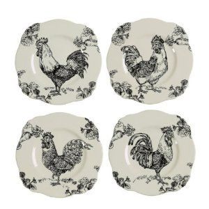Rooster Toile Square Plates Roosters Decor Pinterest Plates