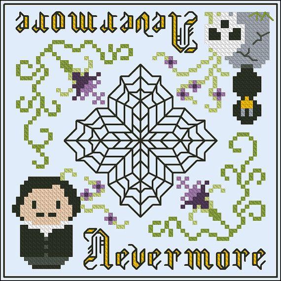 Nevermore biscornu Cross stitch PDF pattern by cloudsfactory