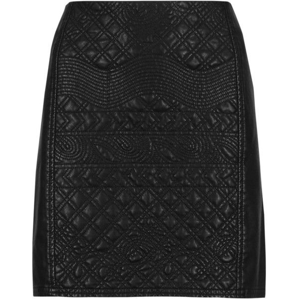 d4e783a82c M&S Collection PETITE Faux Leather Quilted A-Line Mini Skirt ($53) ❤ liked