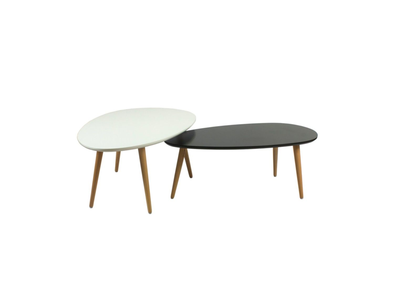 Tables Basses Gigognes Pamy Mdf Laqu H Tre Massif Coloris  # Table Basse Scandinave Laque