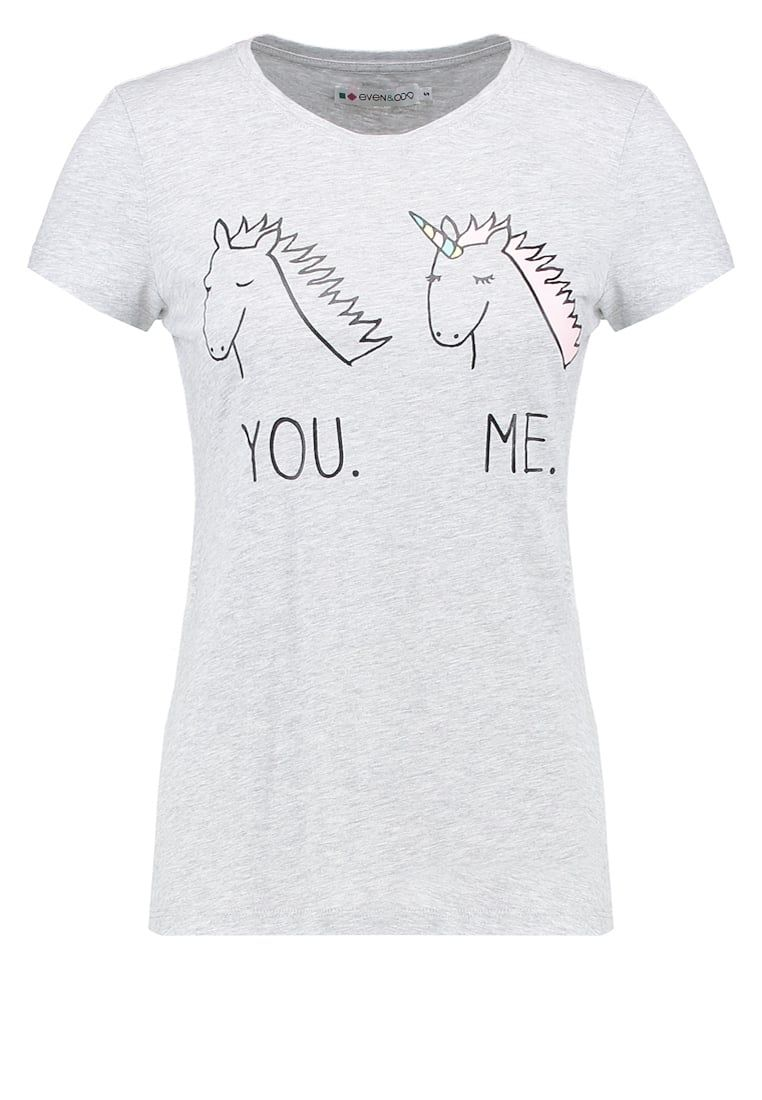 Even Odd T Shirt Z Nadrukiem Light Grey Melange Za 54 Zl 11 09