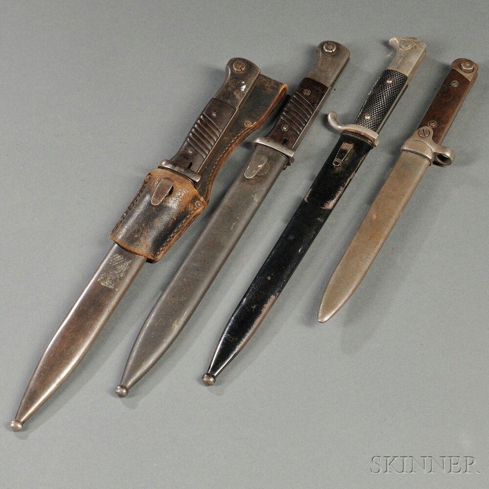 Three Mauser 98k Bayonets, and a Model 1938 Carcano Folding Bayonet