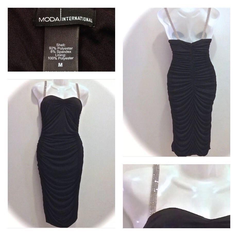 Moda international fitted black dress rhinestone straps