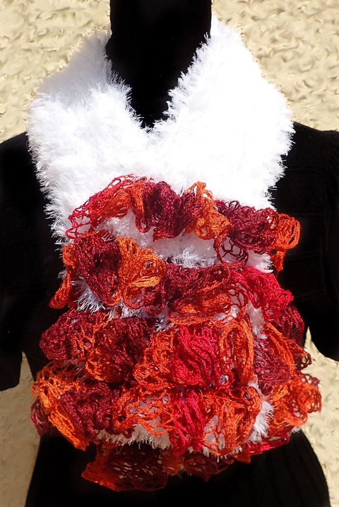 Buttoned Scarf - Crocheted Sashay/Lash Lux Angora Yarn - Orange, Red ...