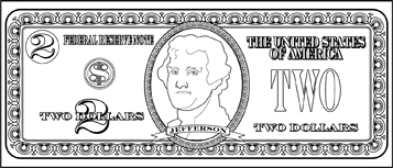 Children Can Use These Printable 2 Bills As Coloring Pages While Learning About The Value Of Currency Free To Dollar Bill Cricket In Times Square Two Dollars