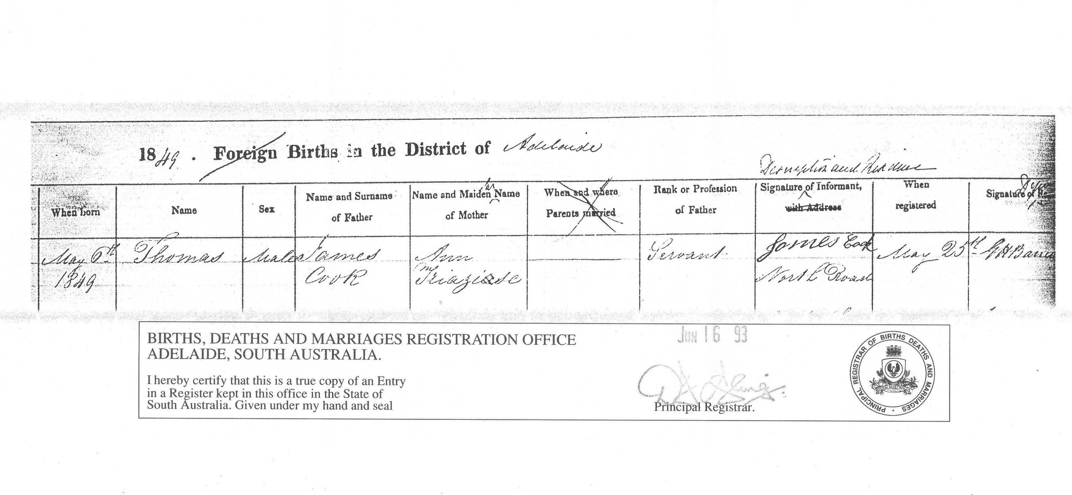 Thomas cooks birth certificate thomas was born 6 may 1849 in thomas cooks birth certificate thomas was born 6 may 1849 in south australia aiddatafo Gallery
