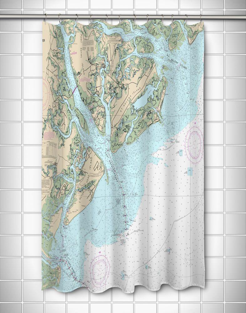 Sc Hilton Head Island Sc Nautical Chart Shower Curtain