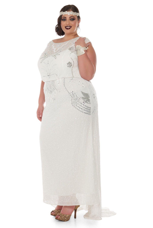 US18 UK22 AUS22 EU50 Isla Off White Plus Größe Hochzeit Kleid Kleid ...