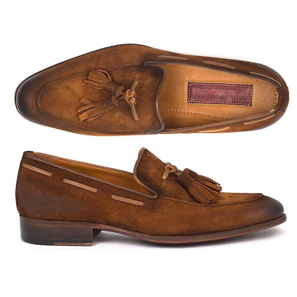 Paul Parkman Men's Tassel Loafer Brown Antique Suede Shoes