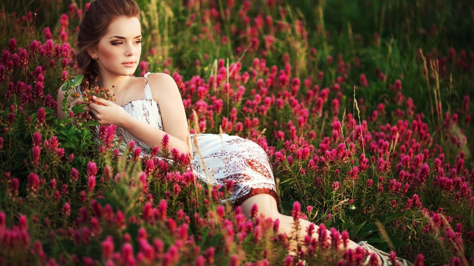 Nice most beautiful girl ever in flower garden for World nice photo