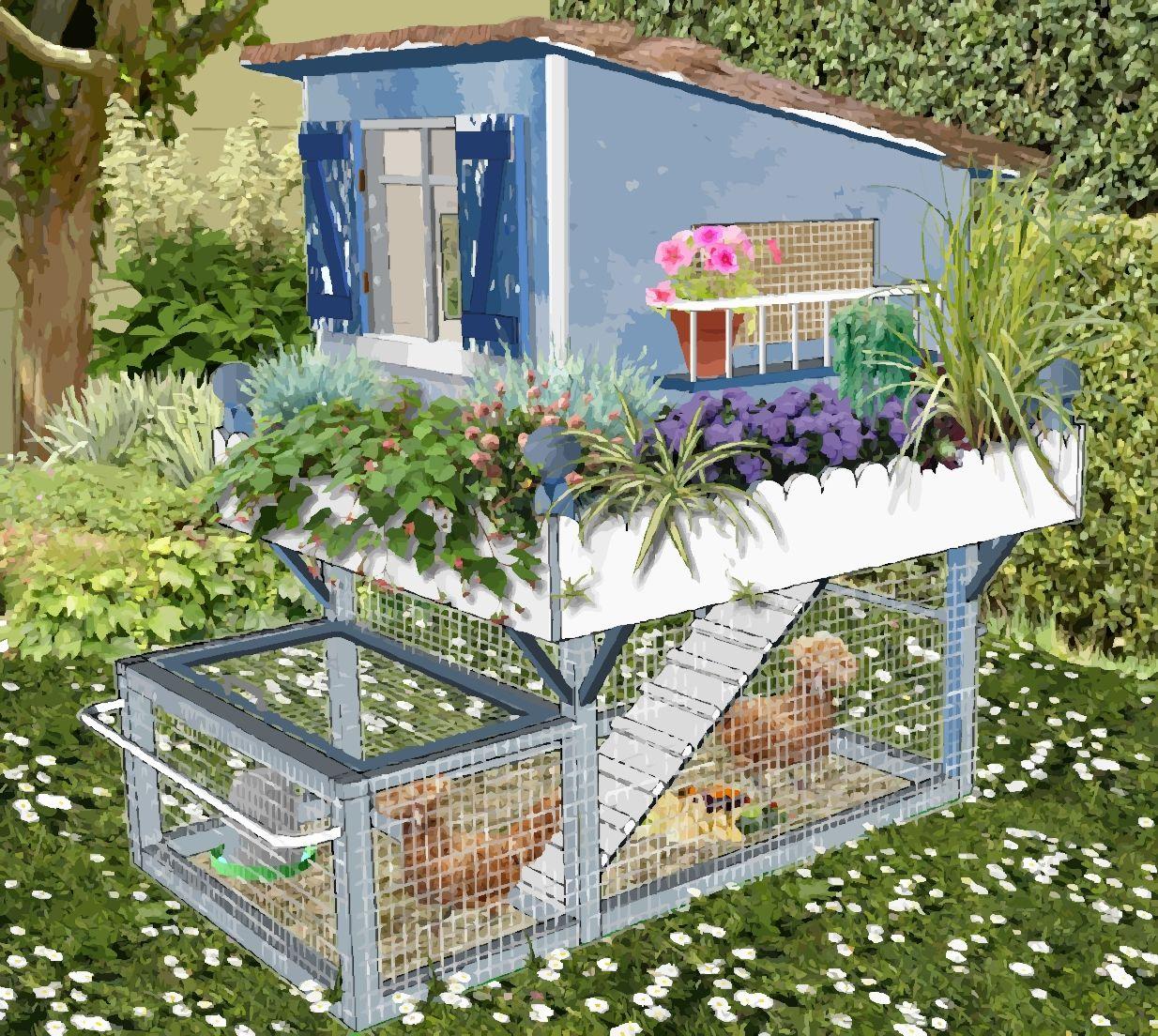 Petit poulailler bleu pour petit jardin en ville pot de for Jardin 50m2 amenager