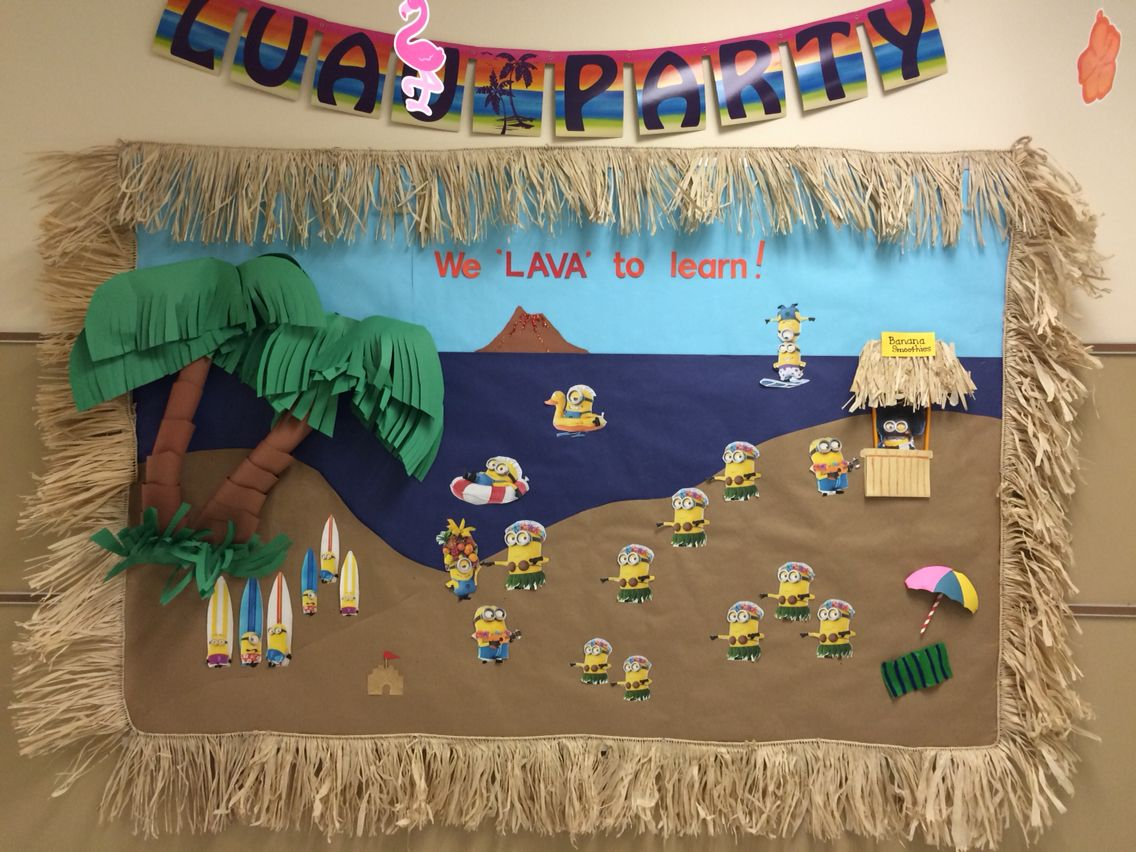 Classroom Luau Ideas : Luau theme minion bulletin board pinterest