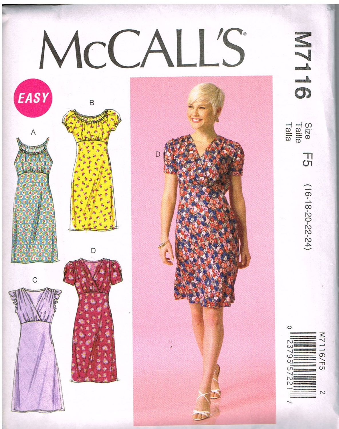 McCall\'s M7116, Home Sewing Pattern, Misses\' Dresses, Size 16, 18 ...