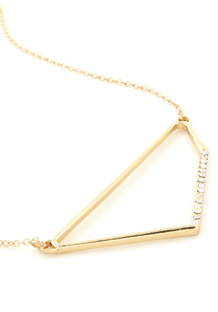 Eye-catching Quadrilateral Necklace. With the addition of this gold pendant necklace, your avant-garde outfit of the day starts to take shape. #gold #modcloth