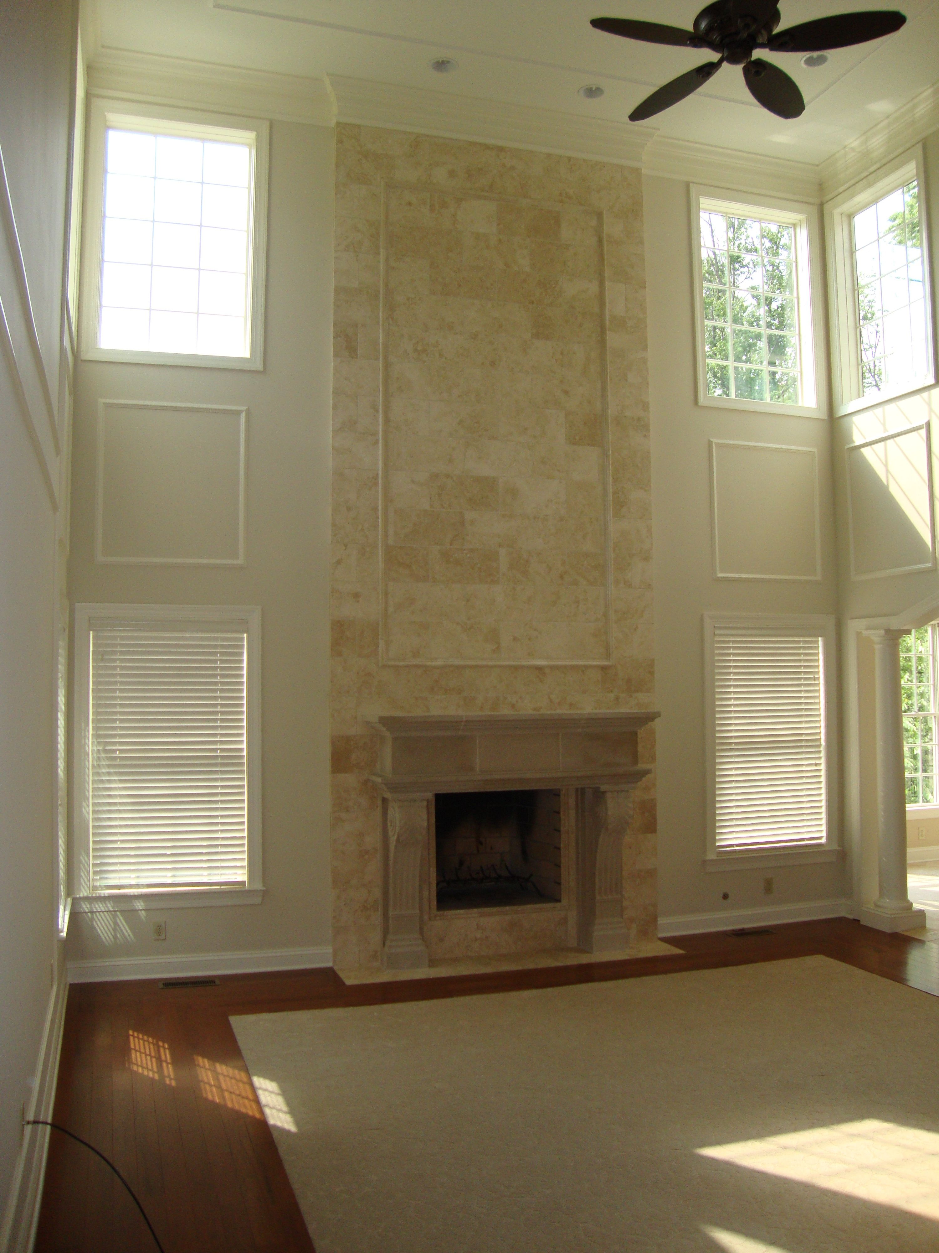 Two story great room fireplace carriage house for 2 story great room floor plans