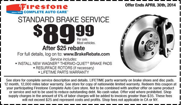 Brake Service Coupons >> Firestone Coupons For 89 99 Standard Brake Service Per Axle