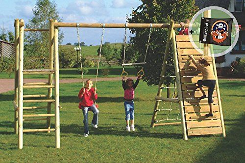 Super 498 Klettergerüst aus Holz mit Netz und Schaukel - Spielanlage von  ZE73
