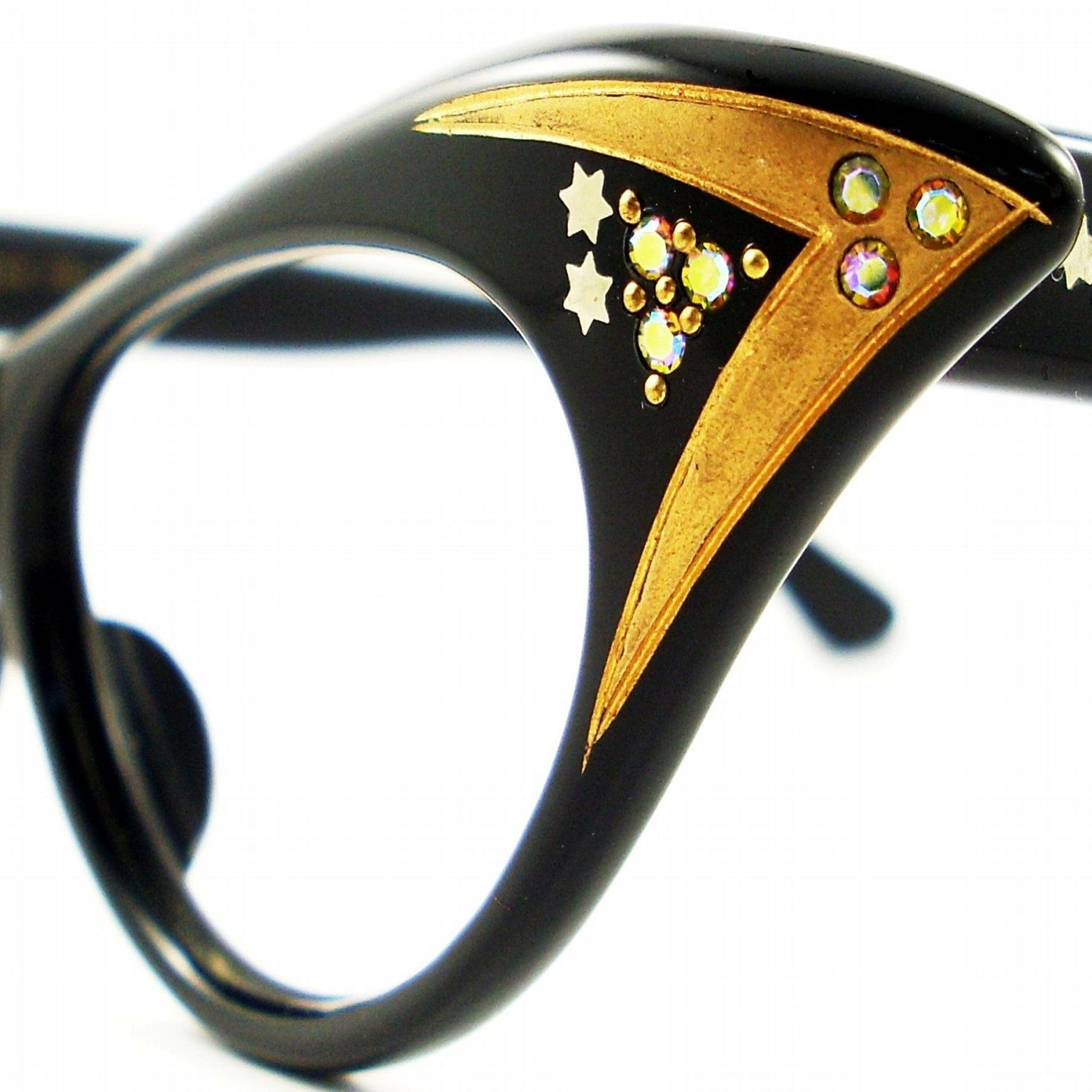 Vintage  Cat Eye Glasses Eyeglasses Sunglasses Glasses New 50s Frame Rhinestones 5