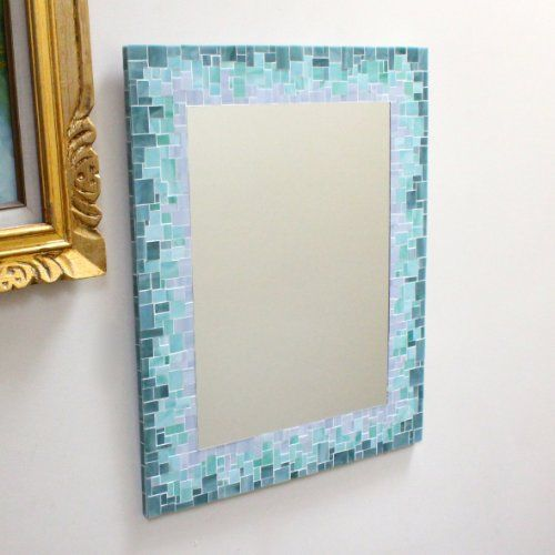 How To Decorate A Mirror With Mosaic Tiles Mosaic Tile Mirror With Blue Green And Beige Sea Glass Tiles