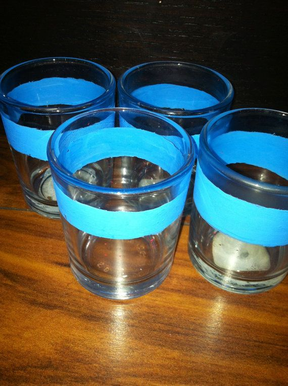 set of 4 hand painted glass shot glasses by BeansAndJeremy on Etsy, $8.50