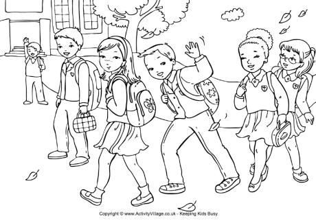 Color the Walk to School | People coloring pages, Walk to school ... | 325x460