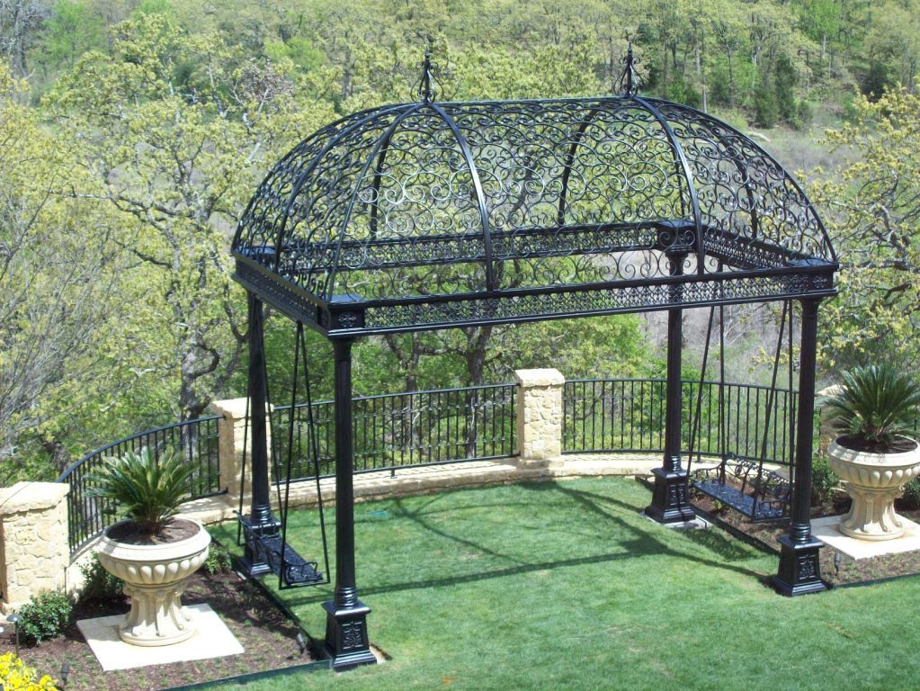 Custom Wrought Iron gazebo with swings on each end. - Wrought Iron Pergola Gazebo - Freestanding Option This Is What It