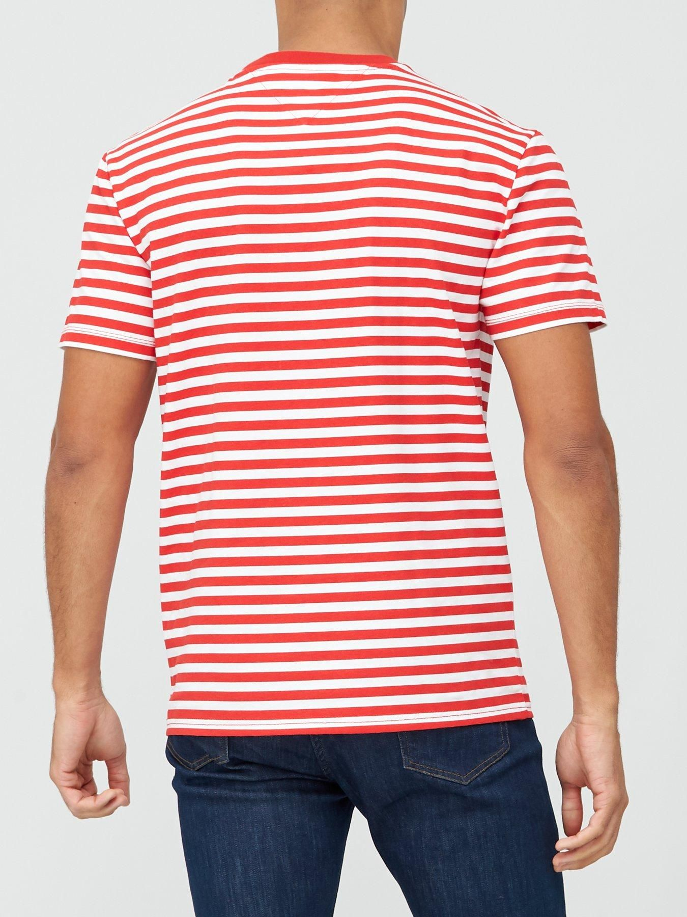 Red Tommy Jeans Men/'s Branded Stripe T-Shirt
