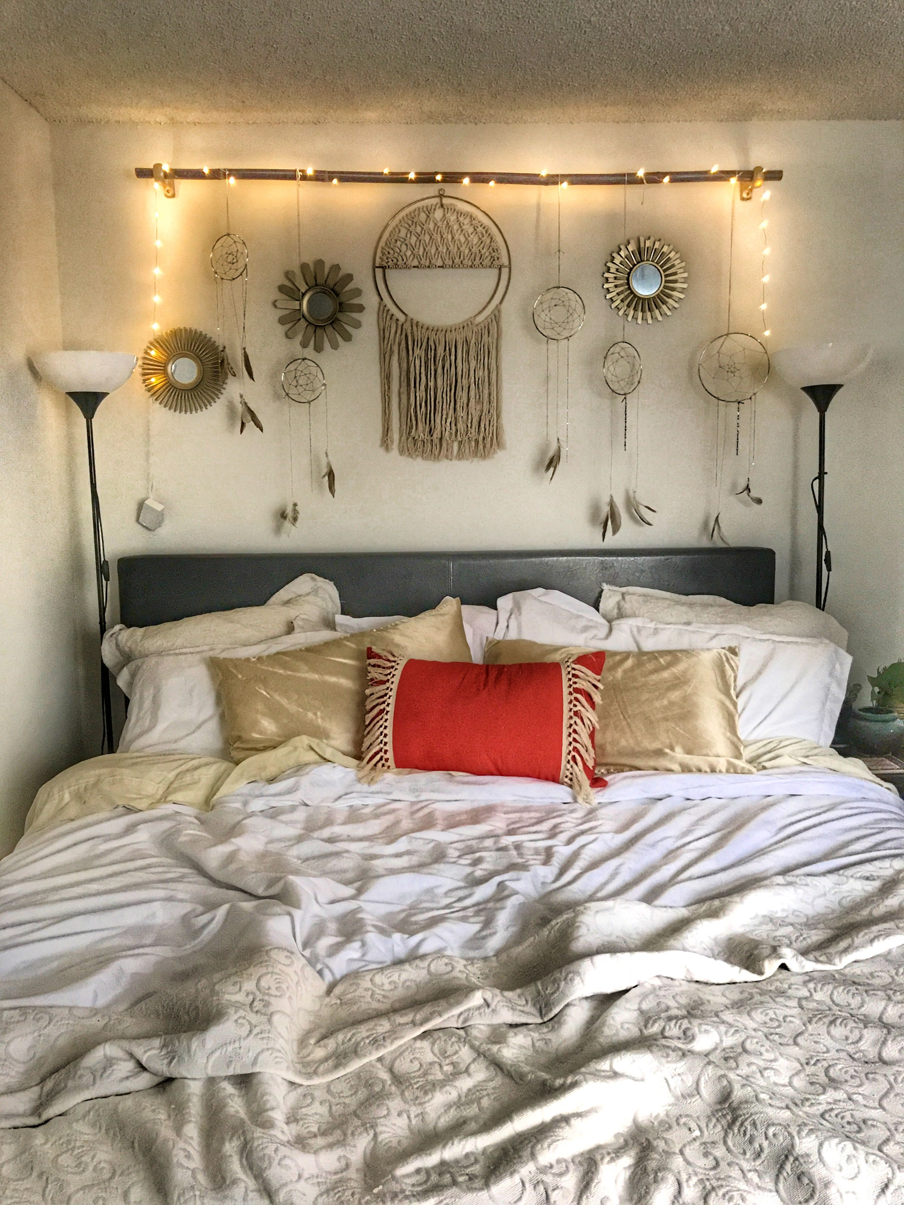 Dreamcatcher headboard  Small bedroom decor, Bedroom decor cozy
