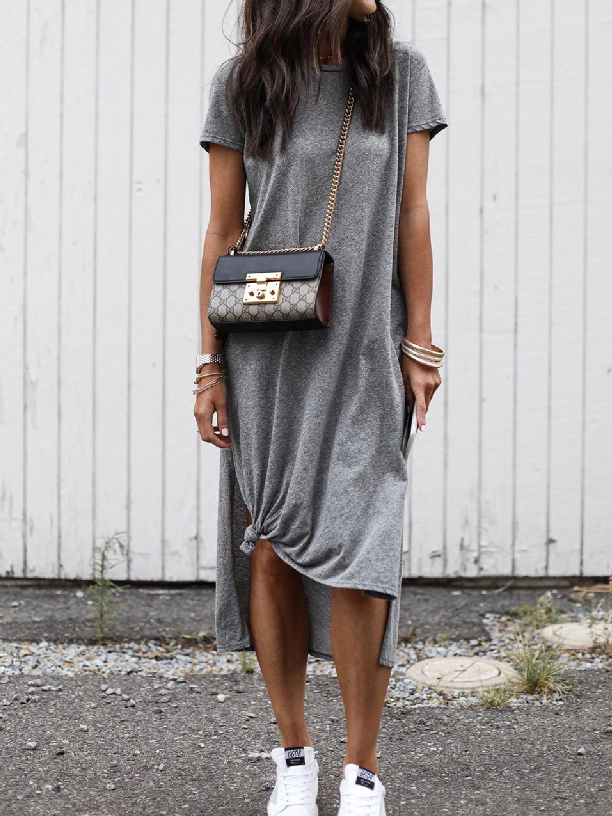Gray Short Sleeve Cotton Blend Round Neck Causal Dresses Noracora Dress And Sneakers Outfit Casual Dress Outfits Maxi Dress Outfit Summer [ 1600 x 1200 Pixel ]