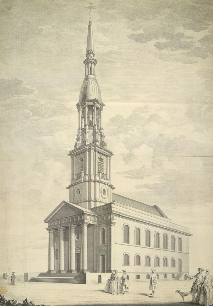 Shoreditch England: St Leonard's New Church, Shoreditch, 1740