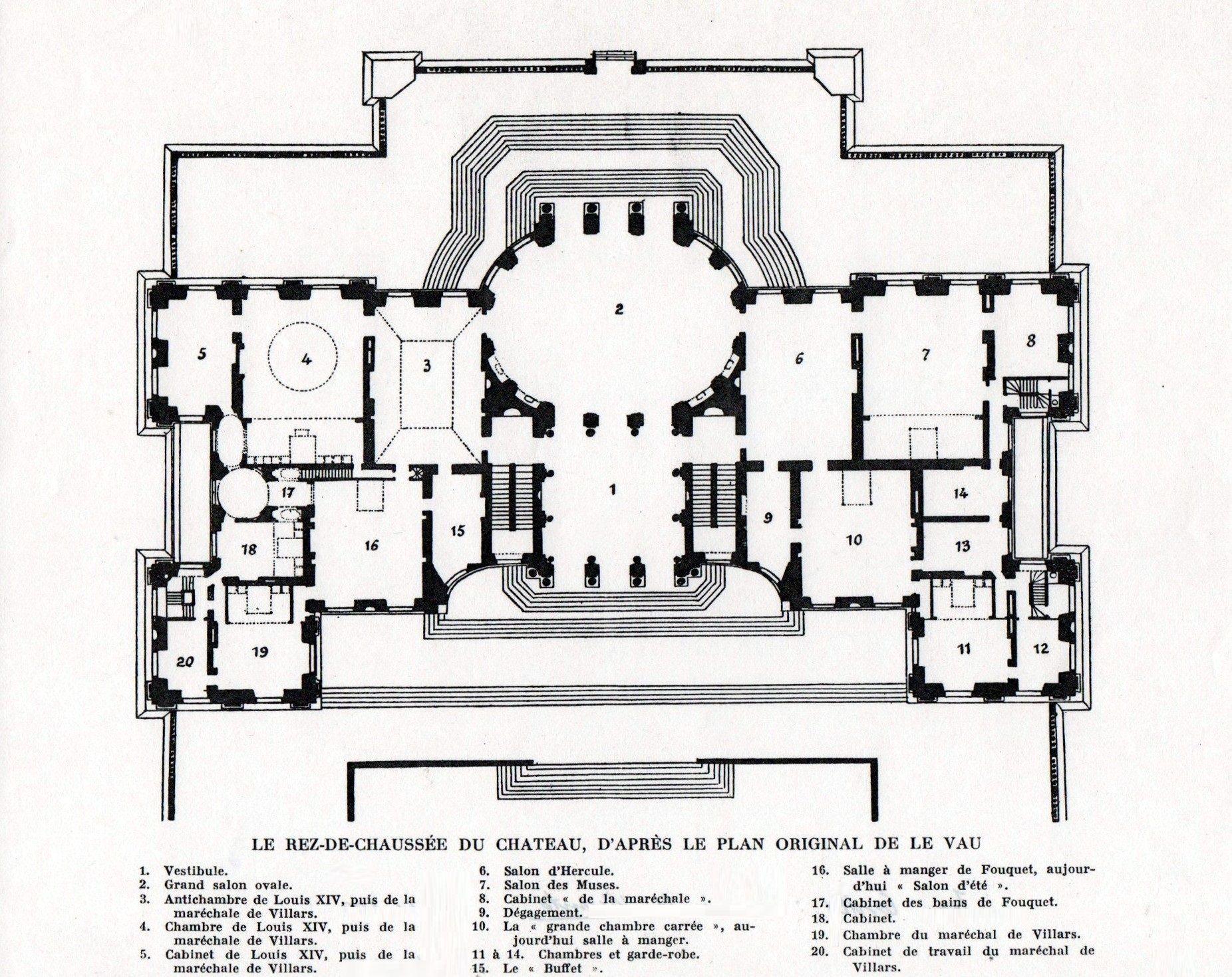 chateau de vaux le vicomte ground floor plan architectural chateau de vaux le vicomte ground floor plan