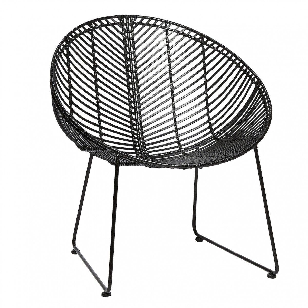 chaise rotin noir ronde hbsch - Chaise Rotin Noir
