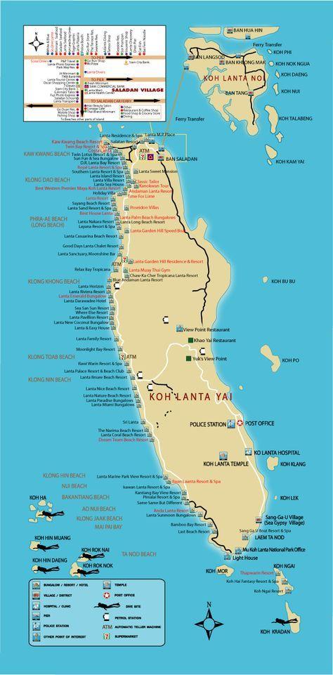 Map Koh Lanta Ko Lanta Krabi Thailand By Lantaresort Com