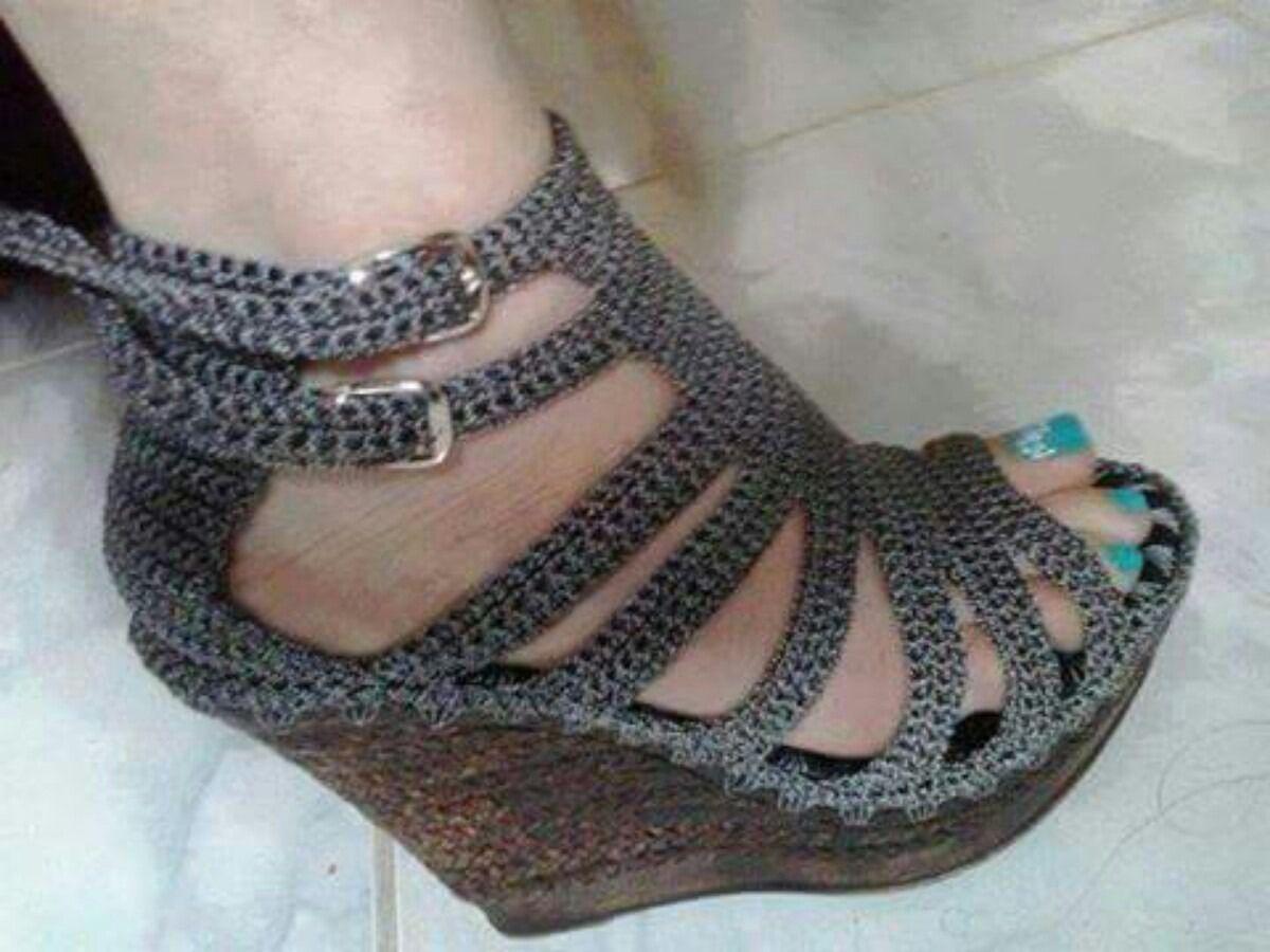 Sandalias Tejidas Zapatos En Crochet Bs 16 000 00 En
