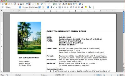 Golf Tournament Entry Forms are an informational one-sheet that