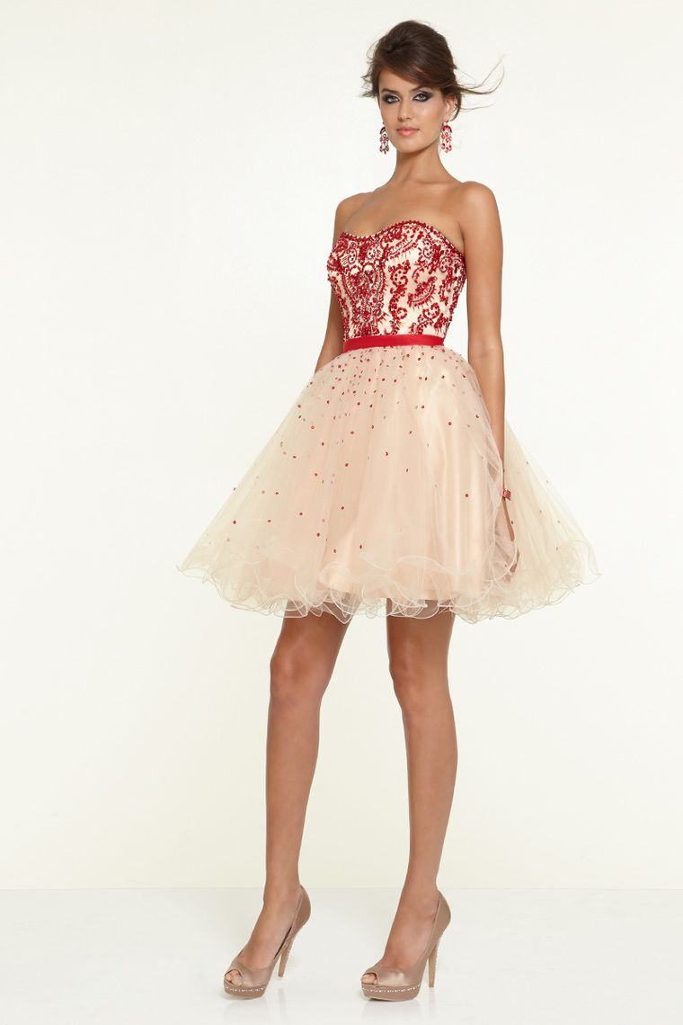2015 Bicolor Sweetheart A Line Short/Mini Prom Dress With Beads And Rhinestone Tulle USD 143.99 BAP5K8TT91 - BallProm.com